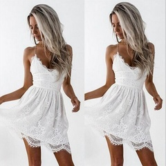 New Women Ladies Dresses Sexy Sleeveless Lace Stitching Spaghetti Strap Tunic Short Party Dresses S White
