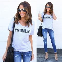 Women Casual MOM LIFE Letter Printed Short Sleeve Summer Fashion Round Neck Cotton T-shirts Tops Grey S