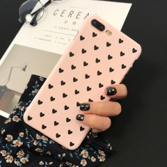 5XIAOHUO iPhone 7/7 Plus/6S/6S Plus/6/6 Plus Phone Case Pink Heart Pattern Frosted Hard Cover pink iphone 6/6s case