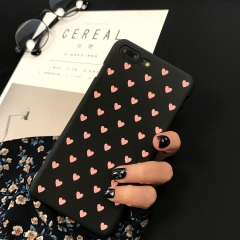 5XIAOHUO iPhone 7/7 Plus/6S/6S Plus/6/6 Plus Phone Case Black Heart Pattern Frosted Hard Cover black iphone x case