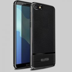 5XIAOHUO huawei Y5 Prime 2018 phone case Litchi pattern TPU Silica gel for huawei cases gray huawei Y5 Prime 2018