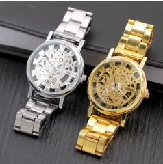 fashion watchs men Non-mechanical Hollow Stainless Quartz Watch for smartwatch Stainless Steel Case gold one size