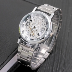 fashion watchs men Non-mechanical Hollow Stainless Quartz Watch for smartwatch Stainless Steel Case silver one size