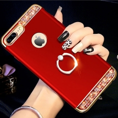 5XIAOHUO for iphone 6/6plus 7/7plus 8/8plus phone case 3-in-1 plating with drill iphone X case red iphone 6 6s case