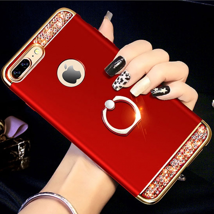 5XIAOHUO for iphone 6/6plus 7/7plus 8/8plus phone case 3-in-1 plating with drill iphone X case red iphone 6 6s plus case