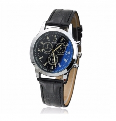 Men Fashion Business Blue-Ray Glass Watch Geneva Wristwatch black one size