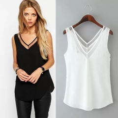Summer Women Short Sleeveless Loose V-neck Backless Gauze Slim Splice Vest Chiffon Shirt Tops balck M