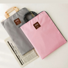 Korea zipper multi-function multi-layer A4 file bag portable iPad computer bag gray 370*270*15mm