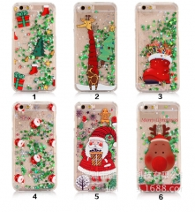 5XIAOHUO for iPhone7Plus 6S case Santa Christmas Snowman Stars Flash Sand case #1 iphone 6 6s case
