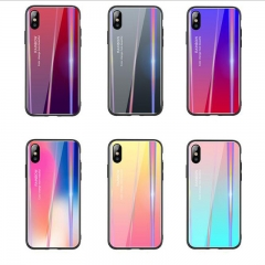 5XIAOHUO New creative for iPhonex phone case  7 8 6 Aurora tempered glass case XS Purple red iphone 6 6s case