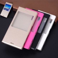 5XIAOHUO for Sony xz2/XZS phone case XZ Premium Flip Case Leather Case XZ2 Compact Window Cover gold xperia xz2 compact