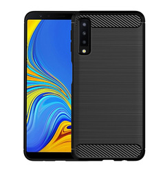 5XIAOHUO For Samsung Galaxy A7 (2018) Brushed Carbon Fiber Texture TPU Protective Back Cover Case black samsung A7 2018