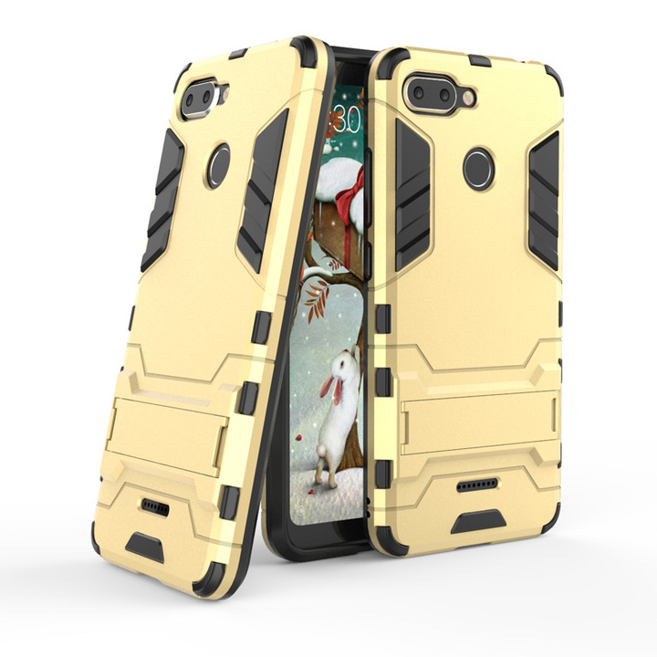 5XIAOHUO for redmi 6 6Pro 2 in1 bracket iron man mobile phone case creative armor anti-fall gold redmi 6