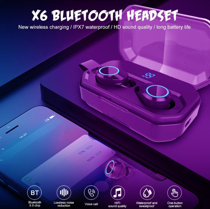 TWS X6 Bluetooth 5.0 True Wireless Earbuds Touch Control bluetooth Earphones with X6 WaterProof black
