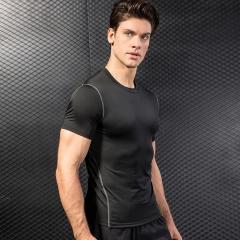 Short Sleeve T-Shirts Running Shirt Fitness Tennis Soccer Jersey Gym Demix Sportswear1003 black XXL Spandex+Polyester