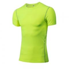 Short Sleeve T-Shirts Running Shirt Fitness Tennis Soccer Jersey Gym Demix Sportswear1003 green L Spandex+Polyester