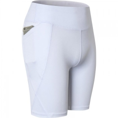 Pocket Gym Women Shorts Compression Fitness Tight Athletic Clothing Legging Shorts  Running Yoga2034 white xxl