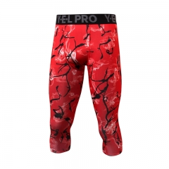 New 3/4 Gym Men's Leggings Compression Pants Fitness Sports Tights Sweat Joggers Running Pants4050 red s