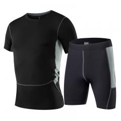 Fitness Sports Set GYM Fitness Sportswear Short Sleeve T-Shirt demix Shorts Men's Sports Set10331014 black s spandex+polyester