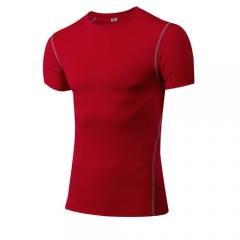 Compressed Men's Short Sleeve T-Shirt Running Fitness Tennis Football Jersey Gym Demix Sports1003 red s