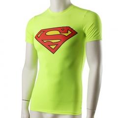 Custom Logo Men's Demix Sports Gym Sets Skinny Tennis Soccer Jerseys Superman Men's T-Shirts4001 Superman green s spandex+polyester