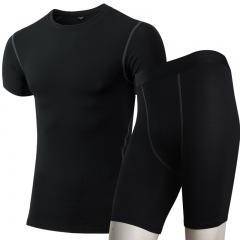 Compressed Sportswear Men's Quick Dry Sportswear Gym T-Shirts Yoga Shorts Demix Gym Sports10031004 black s spandex+polyester