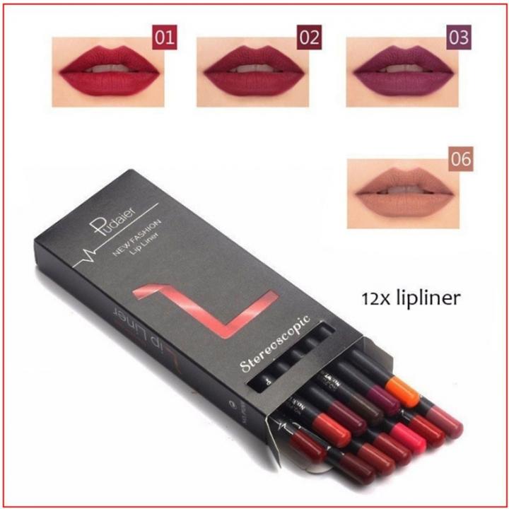 12pcs Makeup Matte Lip Pencil Cosmetic Kit Waterproof Long Lasting Contour Beauty Makeup Tools 12 colors