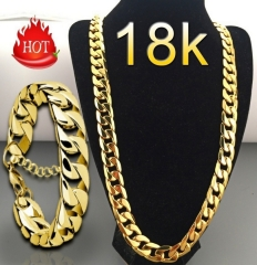 Fashion Luxury Exaggerated Men Women 18K Gold Necklace Exquisite Gold Bracelets necklace 46cm