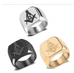 New Fashion Men Personality Masonic Ring Male Titanium Steel Ring Fashion Jewelry silver 8 normal