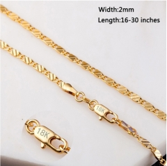16-30 inches Fashion Luxury Men Women Solid 18k Gold Chain Necklace Bride Wedding Engagement Jewelry gold 16inch