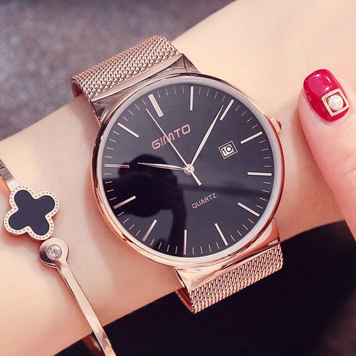 GIMTO Reloj Women's Casual Woman's Watch Women's Leather Woman's Quartz Waterproof  Woman's Watch gold black