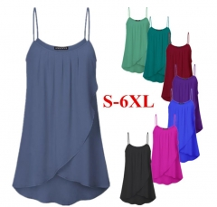 Summer Women Chiffon Solid Color O-neck Sleeveless Top Sling Sexy  T-shirt Blouse Casual Tank Top s black