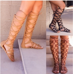 Fashion Woman Gladiator Sandals Flat With Summer Shoe Ladies Sexy Casual Knee-high Boot Sandals Shoe black 35