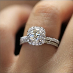 Round Created Simulated Diamond Halo Engagement Ring Set Silver Bridal Wedding Rings Jewelery silver 7#