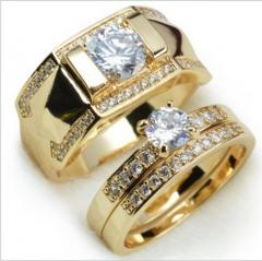 18K Gold Filled Diamond  Men Size 7 To 14 Women Size 5 To 12 Engagement Ring Set men 7