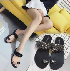 Summer Fashion Diamond Flat Slippers Women Beach Slippers Crystal Sandals black 35