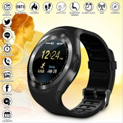 Y1 Smart watch Fitness Tracker Remote Control Waterproof Phone Wristwatch Support SIM TF for Andriod black normal