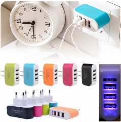 Universal 3 USB Ports Outlet Wall Charger AC Power Adapter 3.1A Fast Charge Plug With LED Light blue normal