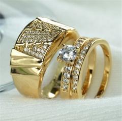 18K Gold Filled Men Women Wedding Men Size 7 To 12, Women Size 6 To 12 Ring Set Jewelry men 11#