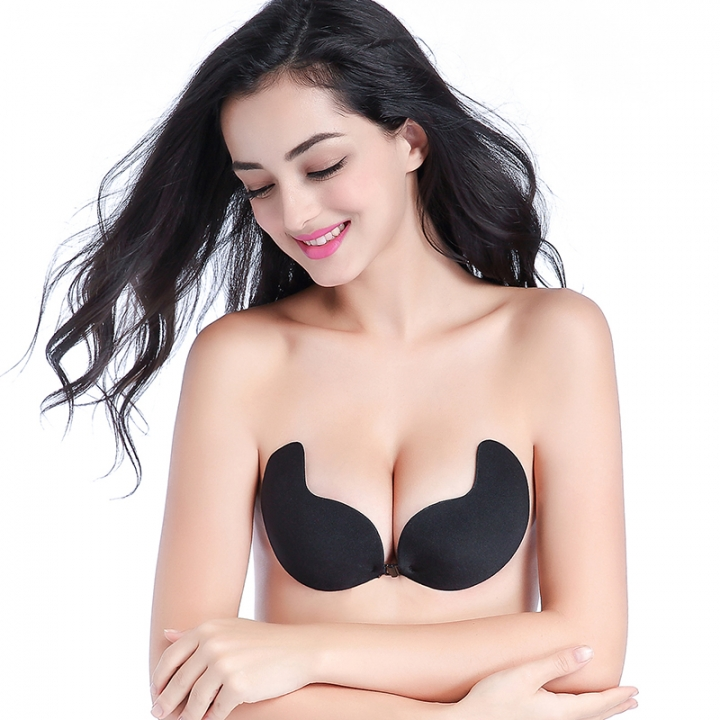 a49cd355a9767 Fly Bra Strapless Silicone Push Up Invisible Bra Self Adhesive Backless  Lift Bralette Seamless black A