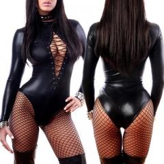 Wet Look Long Sleeve Bodysuit Sexy Lingerie Leather Steel Tube Dance Clothes Ladies SM Jumpsuit black M