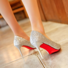 Glitter Gold High-heeled Shoes Pointed With Silver Fine With Women's Shoes Bridesmaid Wedding Shoes gold 34
