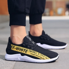 2018 New Fashion Men's Shoes, Casual Wear Canvas Shoes, Men's Shoes, Board Shoes, Breathable Shoes black yellow 39