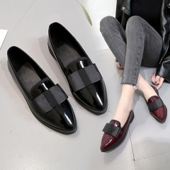 2018 New Women Causal Shoes Bow Pointed Black Female Flat Bottom Wild Heel Women's Shoes black 35