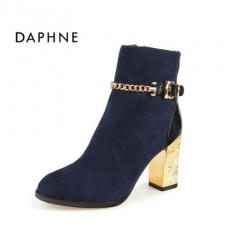 Women's shoes Martin boots high-heeled autumn and winter short tube retro wild boots navy blue 34