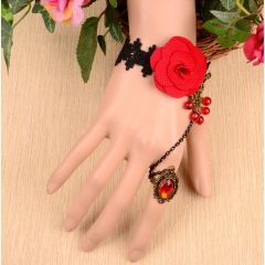 Fashion Black Lace Bracelet with Fabric Flowers and Red Resin Gothic Style as the picture one size