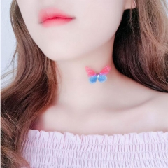VKER Women Fashion Necklace Butterfly Choker Collar With Invisible Fish Line random color one size