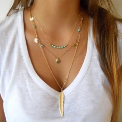 European and American fashion new leaf pendant multi-layer necklace necklace fashion jewelry Golden one size