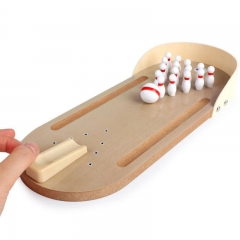 Mini bowling game, mini wooden desktop bowling game for children and adults (solid wood) as the picture one size