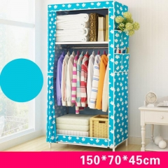 Cloth Wardrobe Cabinet Hanger Storage Clothes Storage 150cm x 70cm x 45cm blue
